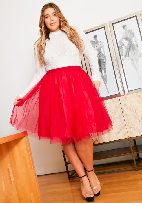Asoph Plus Size Full Tulle Womens Mesh Midi Skirt
