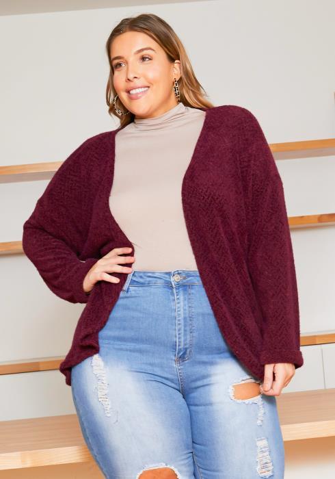 Asoph Plus Size Open Front Womens Knit Cardigan