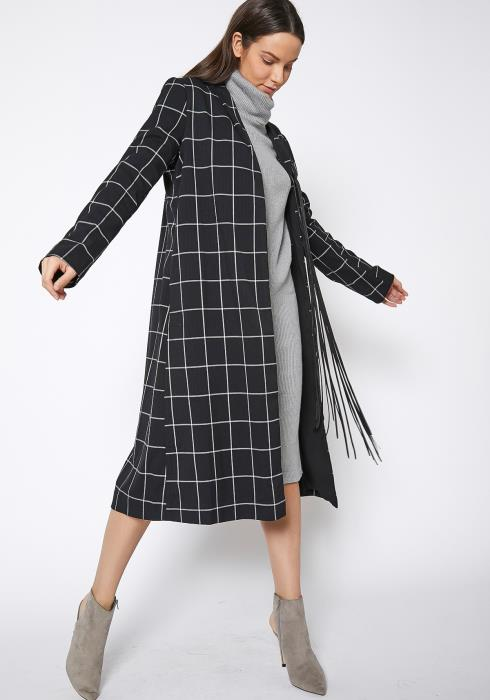 RO & DE Minimalist Grid Longline Coat