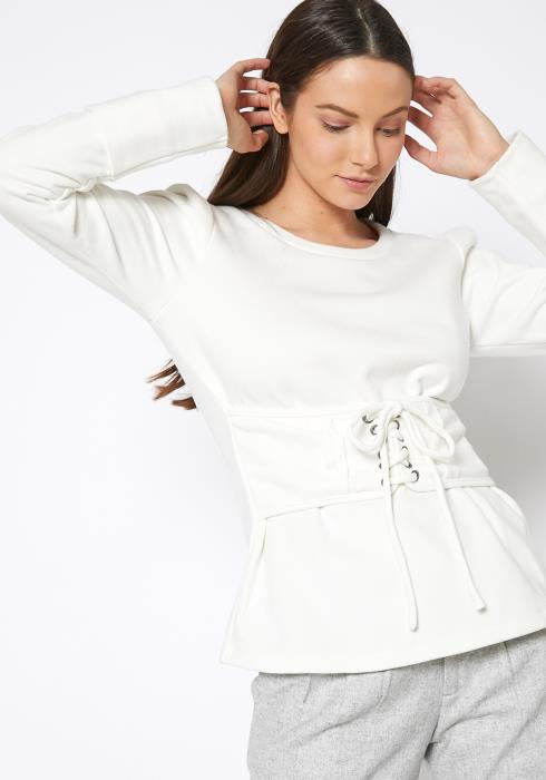 RO & DE Womens Corset Tie Sweatshirt