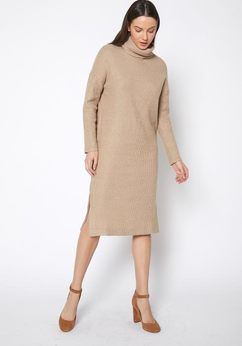 RO & DE Turtle Neck Midi Sweater Dress
