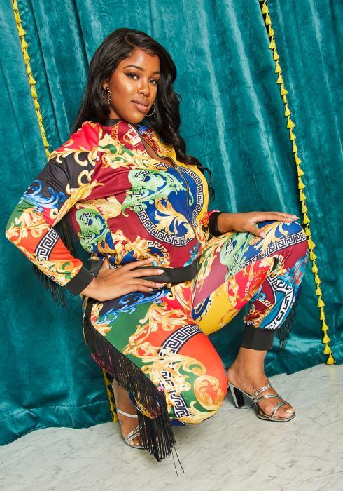 Asoph Plus Size Royal Fringe Trim Jacket & Pants Set