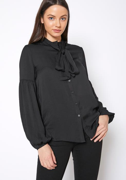 RO & DE Womens Tie Neck Button Up Blouse
