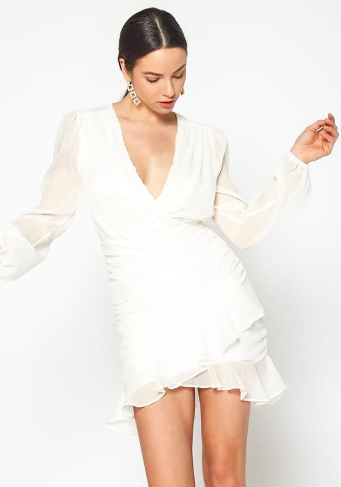 Tansy Womens Angelic Ruched White Mini Dress