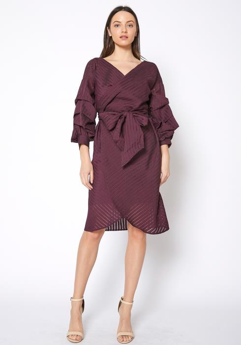 RO & DE Womens Organza Stripe Wrap Dress
