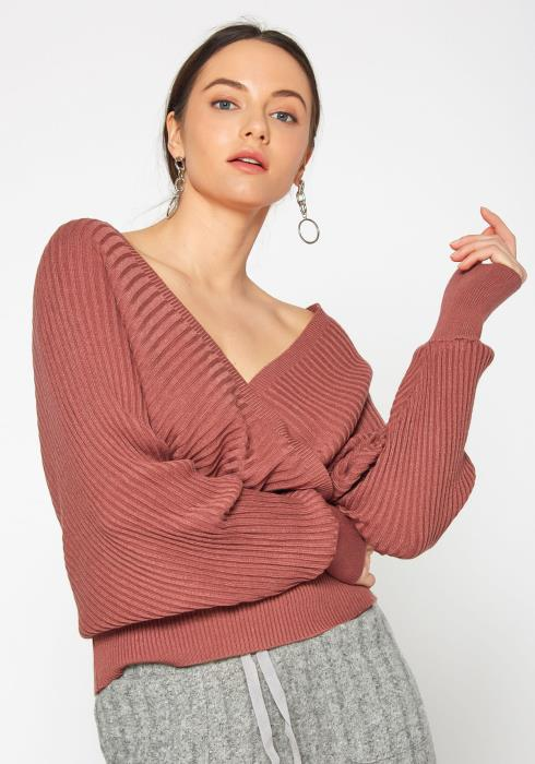 Tansy Womens V Neck Overlay Ribbed Sweater