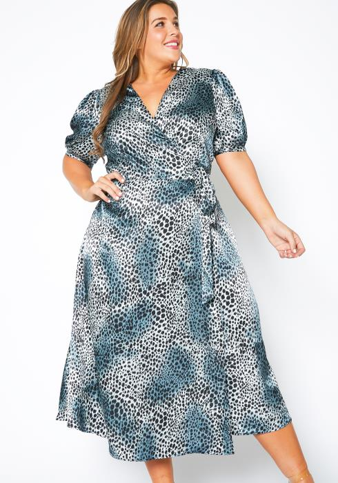 Pleione Plus Size Satin Leopard Wrap Maxi Dress