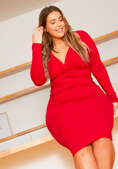 Asoph Plus Size Twist Front Bodycon Dress