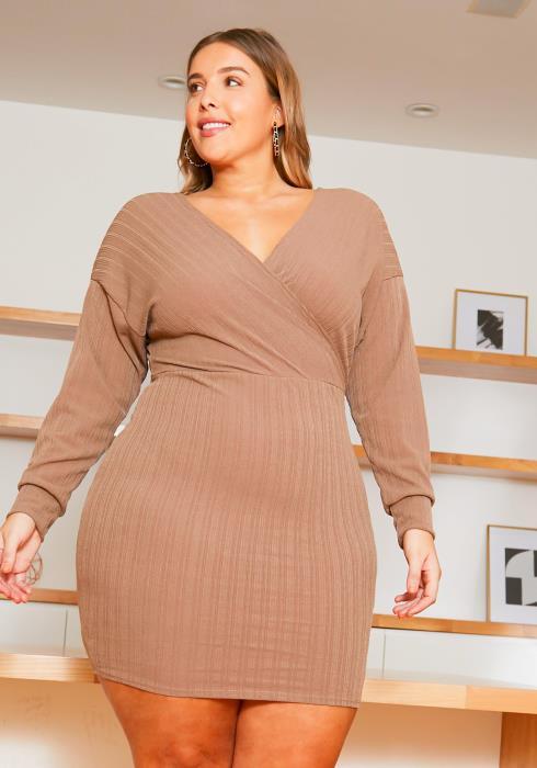 Asoph Plus Size Womens Ribbed Mocha Bodycon Dress