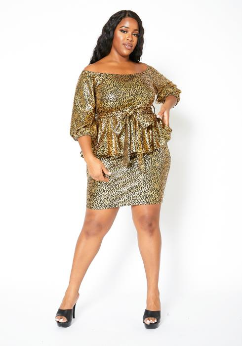 Asoph Plus Size Golden Foil Peplum Dress