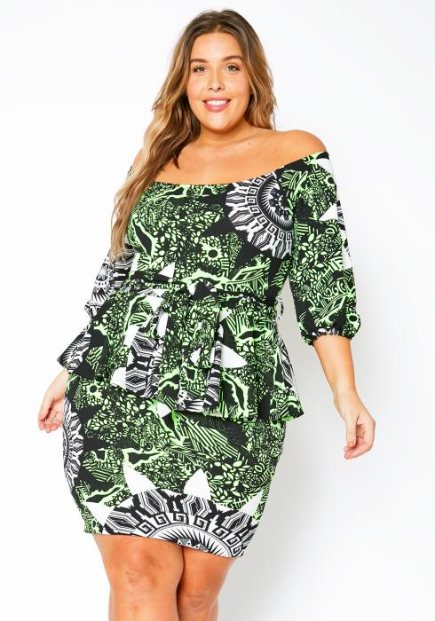 Asoph Plus Size Womens Neon Greek Art Pattern Mini Dress
