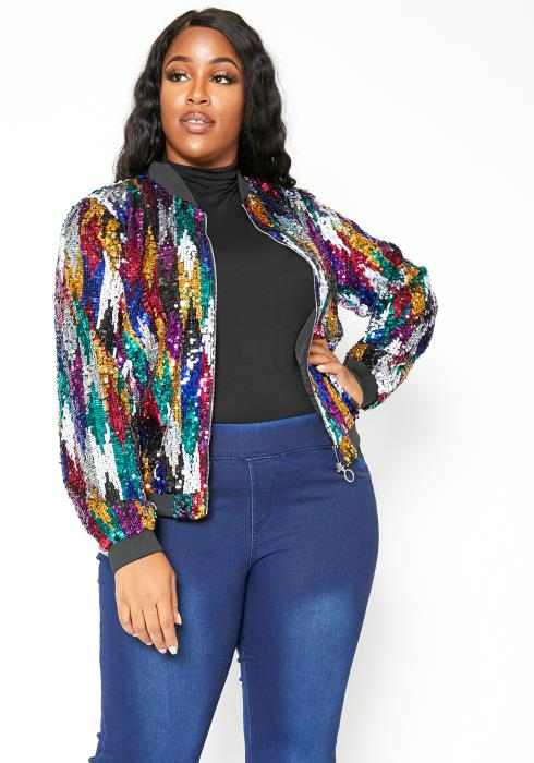 Asoph Plus Size Colorful Sequin Womens Bomber Jacket