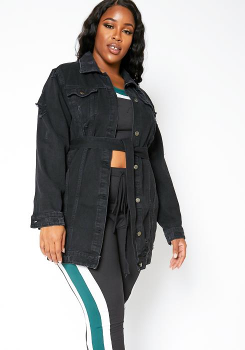Asoph Plus Size Womens Fashion Tour Longline Denim Jacket