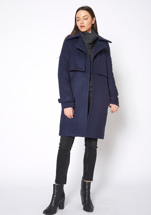 RO & DE Wool Blended Overlay Notch Collar  Coat
