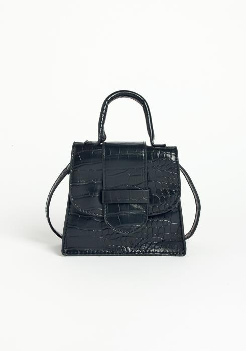 Asoph Croc Embossed Mini Crossbody Bag Black
