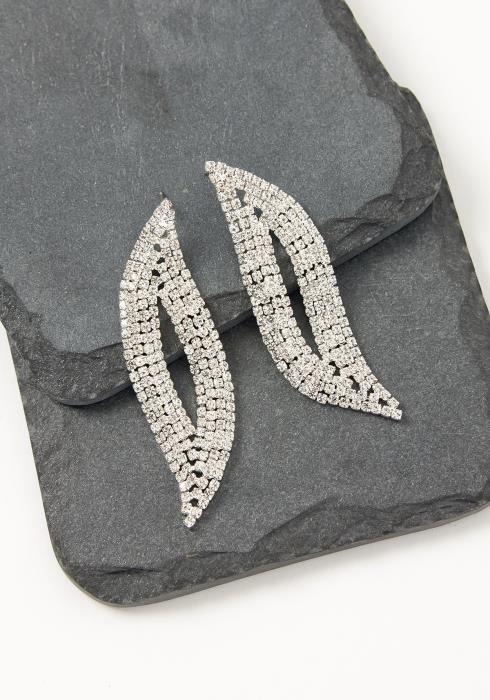 Asoph Amiens Silver Crystal Leaf Earrings
