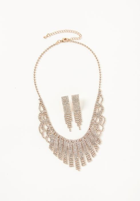 Asoph Elmira Luxury Crystal Necklace & Drop Earrings Set