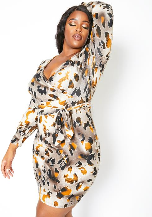 Asoph Plus Size Fall Leaf Wrap Dress