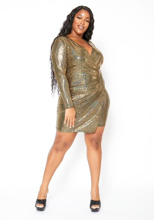Asoph Plus Size Metallic Gold Sequin Wrap Dress