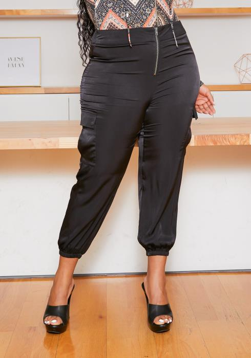 Asoph Plus Size Satin Utility Cuffed Pants