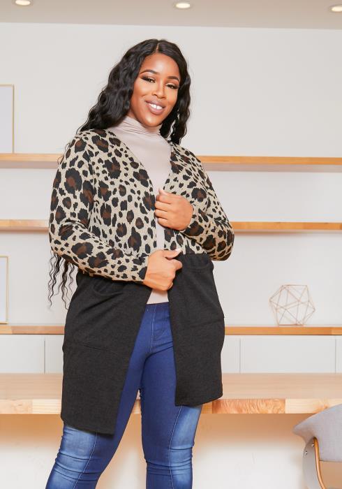 Asoph Plus Size Leopard Black Contrast Cardigan