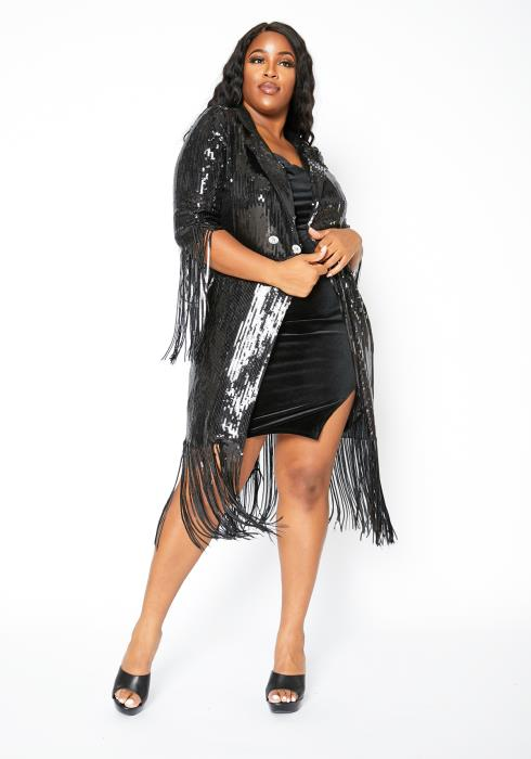 Asoph Curvy Womens Life Of The Party Black Sequin Fringe End Cardigan