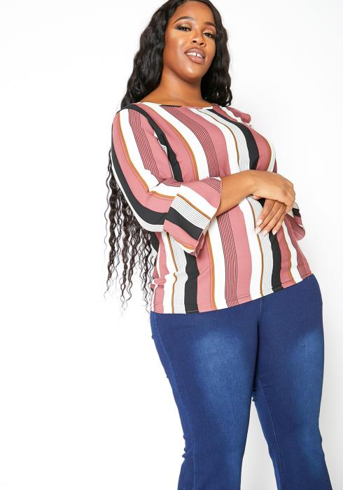 Asoph Plus Size Multi Stripe Bell Sleeve Blouse