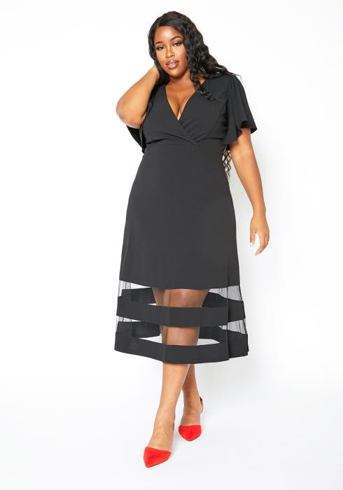 Asoph Plus Size Womens Double Mesh Striped A Line Midi Dress