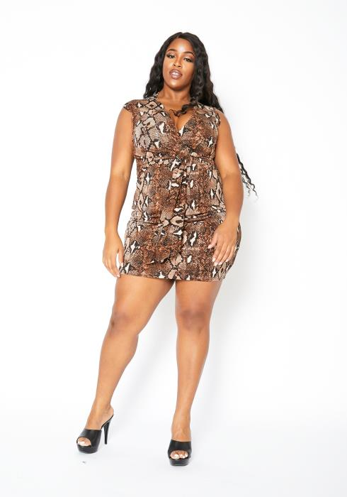 Asoph Plus Size Brown Snakeskin Womens Tank Mini Dress