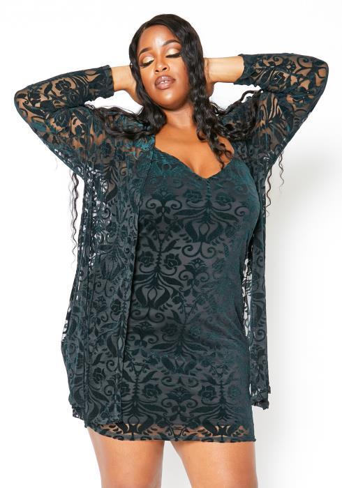 Asoph Plus Size Deep Emerald Velvet Cardigan