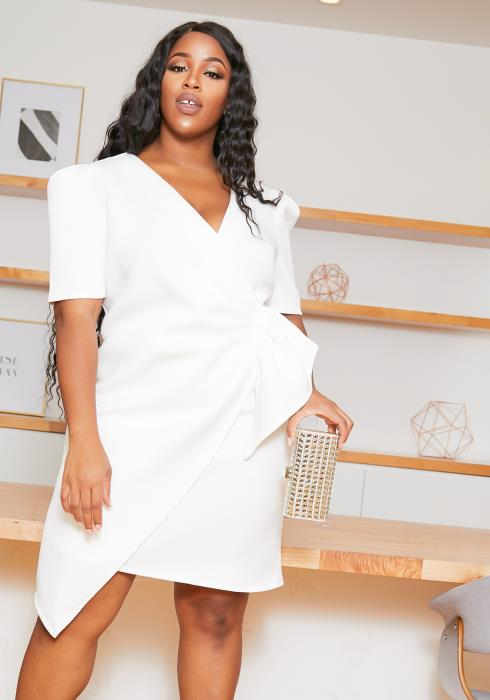 Asoph Plus Size Puff Shoulder Wrap Party Dress