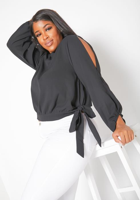 Asoph Plus Size Slit Shoulder Womens Blouse