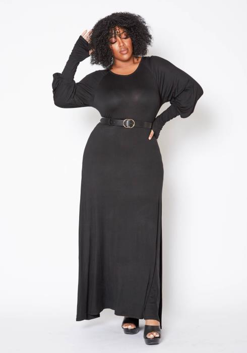 Asoph Plus Size Simple Long Sleeve Womens Maxi Dress