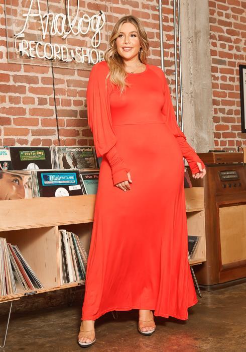 Asoph Plus Size Simple Long Sleeve Womens Maxi Dress