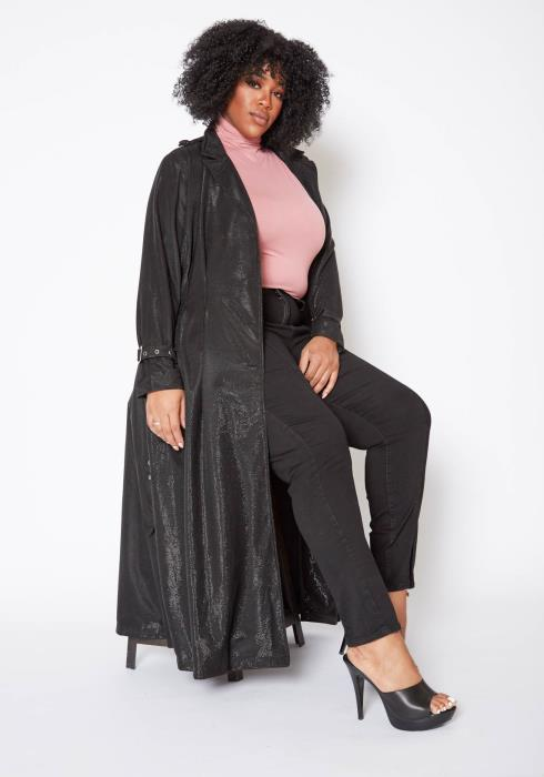 Asoph Plus Size Womens Belted Metallic Longline Coat