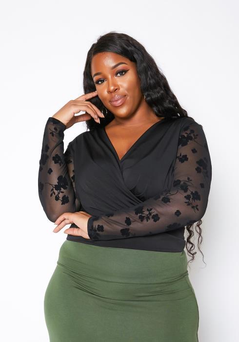 Asoph Plus Size Floral Mesh Long Sleeve Womens Crop Blouse