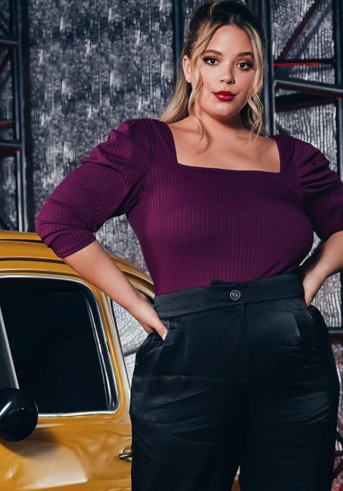 Asoph Plus Size Womens Square Neck Ribbed Bodysuit