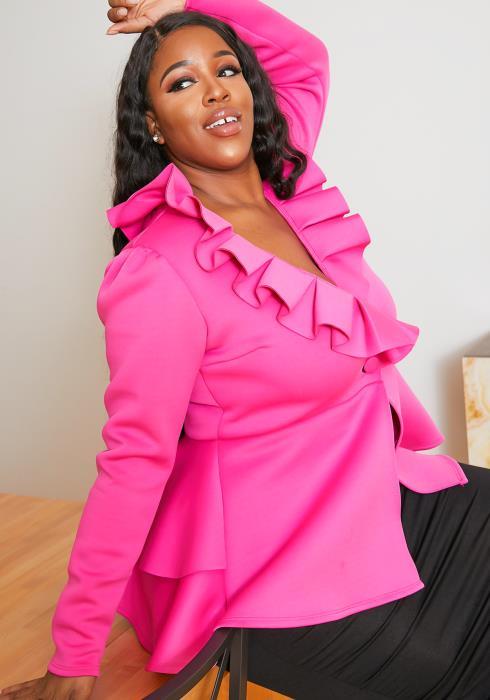Asoph Plus Size Grandeur Womens Ruffle Hem Peplum Top
