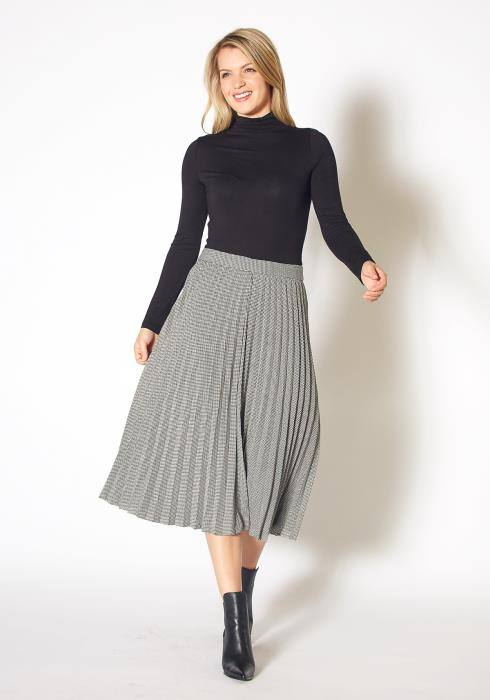 Pleione Womens Houndstooth Pleated A Line Midi Skirt