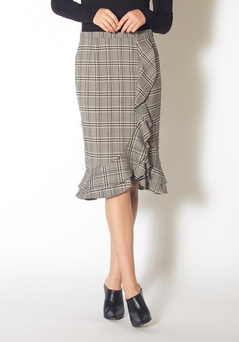 Pleione Womens Waterfall Ruffle Trimmed Pencil Skirt