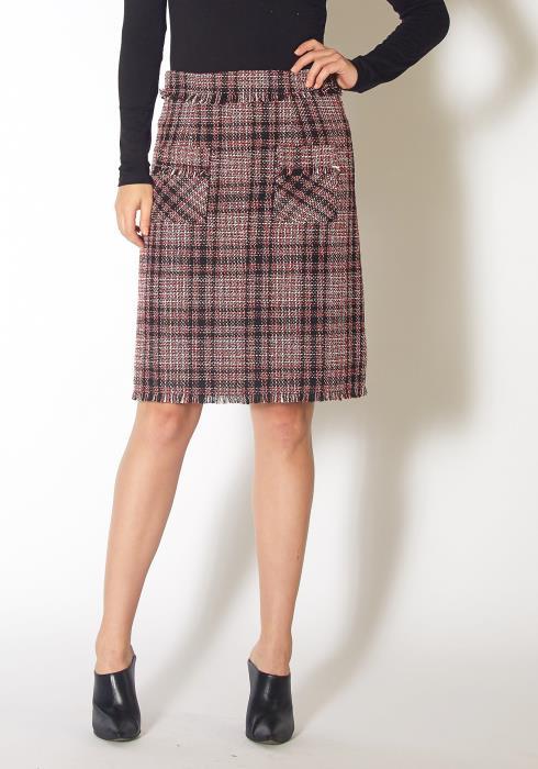 Pleione Womens Red Tweed High Rise Pencil Skirt