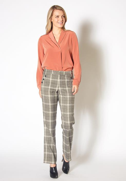 Pleione Womens Plaid Suiting Straight Pants