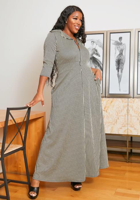 Asoph Plus Size Stripe Zipper Maxi Dress