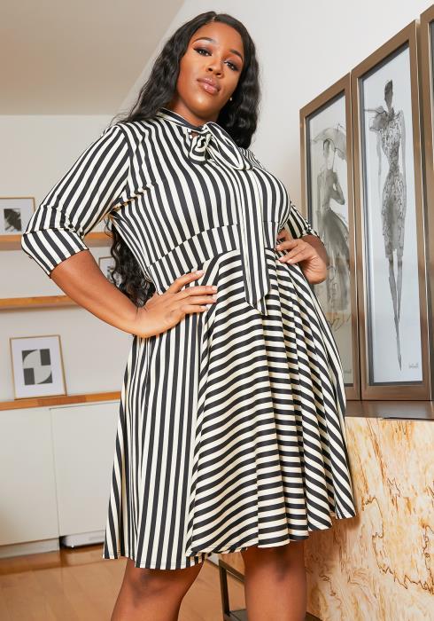 Asoph Plus Size Vintage Striped Womens Flare Midi Dress
