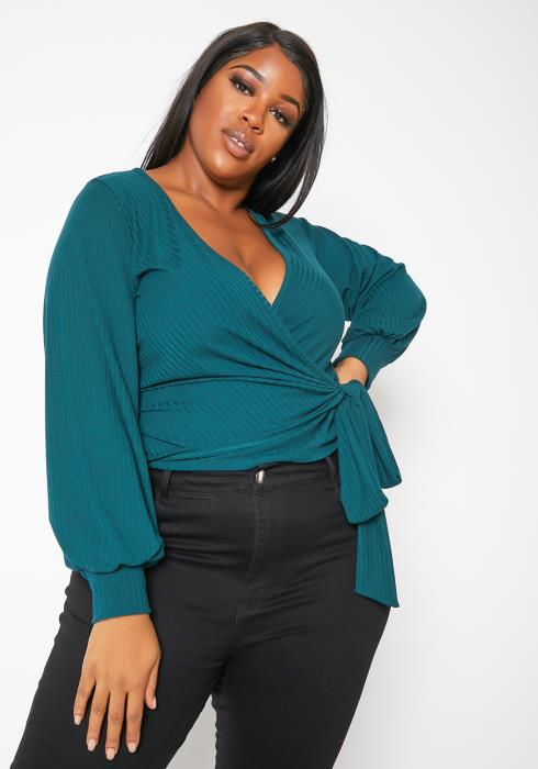 Asoph Plus Size Womens Ribbed Teal Wrap Blouse