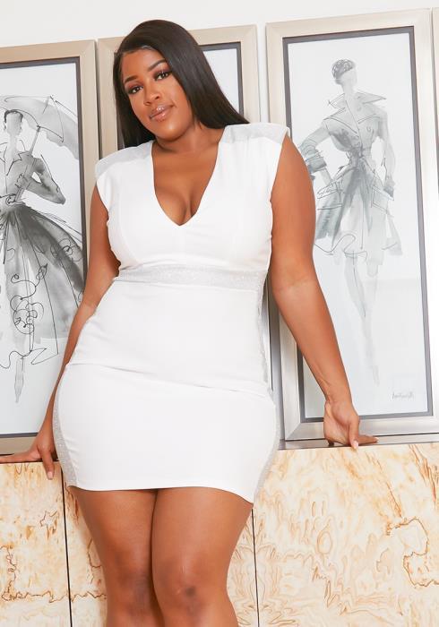 Asoph Plus Size Sparkling Silver White Party Mini Dress