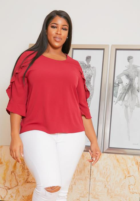 Asoph Plus Size Ruffle 3/4 sleeve Blouse Top