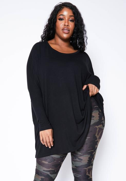 Asoph Plus Size Comfortable Womens Oversize Crew Neck Sweater