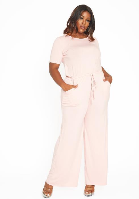 Asoph Plus Size Everyday Short Sleeve Flared Jumpsuit
