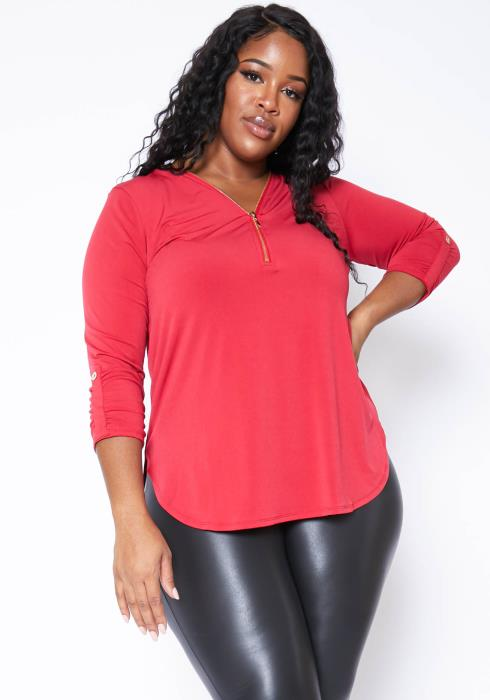 Asoph Plus Size Womens V Neck Zip Up Casual Red Top